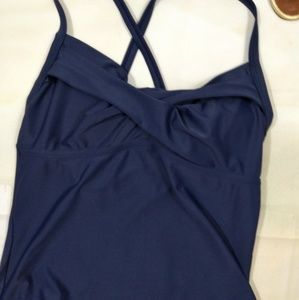 Athleta XL Dress Blue Navy Halter Swim Tankini Top